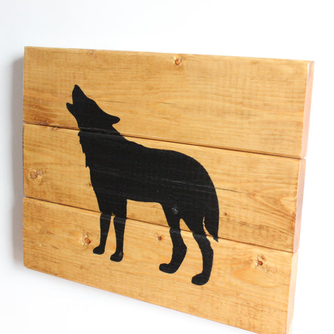 Rustic Handcrafted Wooden Wolf Sign