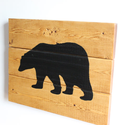 Rustic Handcrafted Wooden Bear Sign