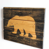 Rustic Handcrafted Wooden Bear Sign Black