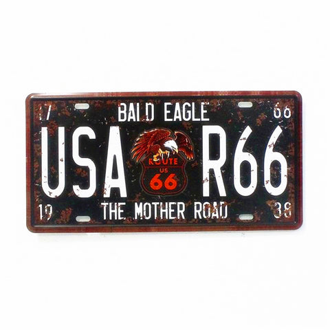 Bald Eagle USA Route 66 License Plate