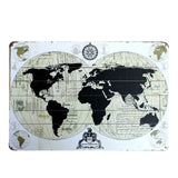 Ancient Metal World Map Sign