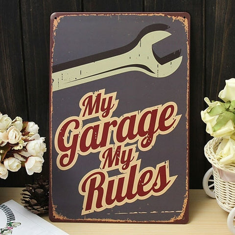 My Garage My Rules Metal Sign