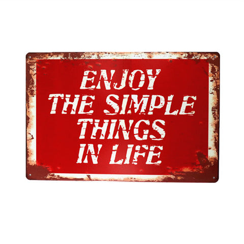Vintage Metal Simple Things Sign