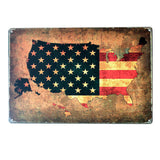 Retro American Flag Metal Sign