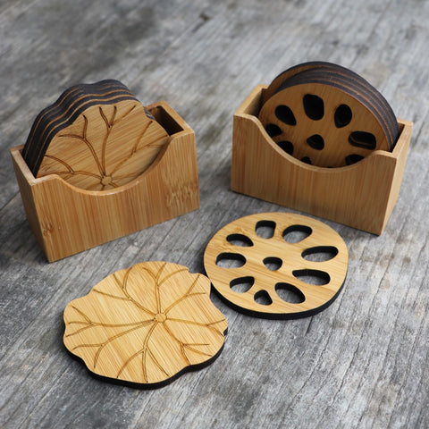 Natural Bamboo Drink Coaster Set