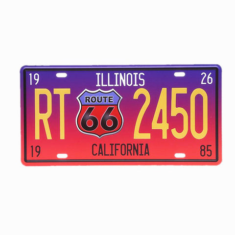 Vintage Metal Illinois California Sunset License Plate