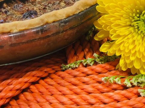 Upcycled rope products created with Autumn yellows and oranges