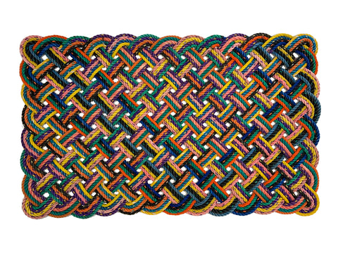 "Multicolored 39""w x 24""h x 1.25""d outdoor rug made with upcycled lobster rope"