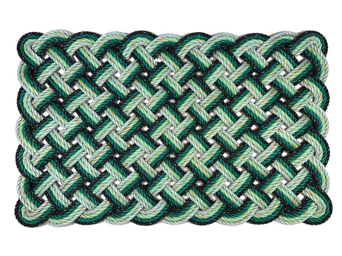 St Patrick's Day green and black ombre reclaimed lobster rope doormat