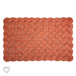 Nautical welcome mat made from orange reclaimed lobster rope with blue flecks
