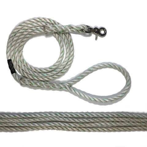 White with lime tracer rope dog lead