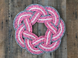 Pink baby nursery wreath made in Maine