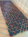 "75""w x 27""h x 1.25""d Colorful indoor outdoor rope rug handmade in Maine"