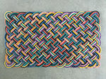 Colorful rainbow like reclaime lobster rope porch mat made in Maine