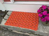 Lobster Bake Rope Mat, Nautical welcome mat, Orange Maine rope doormat, Recycled lobster rope, Maine made, Vibrant floor decor