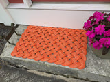Orange Rope Mat, Upcycled fishing rope, Outdoor mat, Maine made, Nautical welcome mat, Orange doormat, Vibrant floor decor