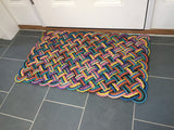 Colorful doormat made with upcycled Maine lobster rope