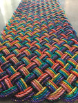 "75""w x 27""h x 1.25""d Colorful rope runner made from upcycled lobster rope"