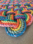 Rainbow pattern upcycled lobster rope runner mat made in Maine