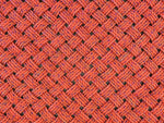 Bold orange patio rug made in Maine with upcycled lobster rope