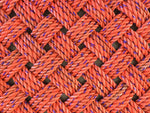 Ecofriendly large handwoven orange rope doormat with purple flecks