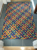 Bright colorful upcyled lobster rope mudroom mat made in Maine