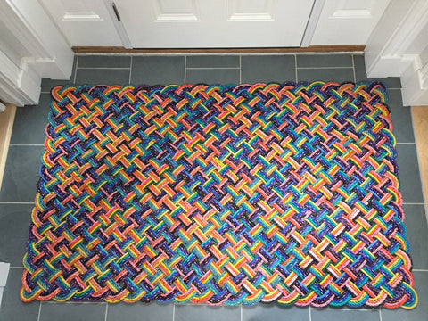 Nautical foyer mat made with reclaimed Maine lobster rope