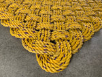 Casco Bay Mat - Medium, Maine lobster rope rug, Upcycled lobster rope, Nautical outdoor mat, Yellow welcome mat, Vibrant floor decor