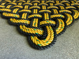 Honey Bee Rope Mat, Nautical welcome mat, Black and Yellow doormat, Upcycled rope, Maine made, Vibrant floor decor