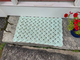 Sea Mist Rope Mat, Upcycled lobster rope mat, Maine made, Reclaimed welcome mat, Kitchen mat, Entry mat by WharfWarp