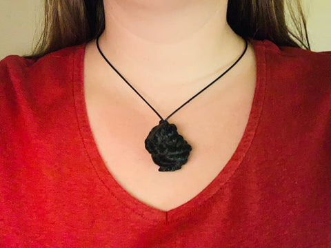 Nautical Knot Necklace, Eco-friendly pendant necklace, Upcycled lobster rope necklace, Black pendant, Maine made by WharfWarp