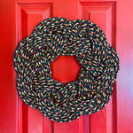 Campfire Wreath, Upcycled lobster rope, Maine made nautical wreath, Festive wreath, Rope wreath woven by Wharf Warp