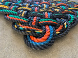 Lobster Buoy Rope Mat, Upcycled lobster rope, Maine made, Nautical outdoor mat, Multi-colored and durable, Woven rope doormat by WharfWarp