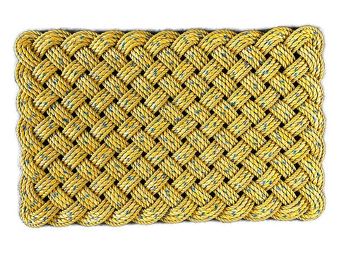 Maine rope rug, Upcycled lobster rope doormat, Maine made, Nautical welcome mat, Yellow with blue mat, Hand woven by WharfWarp