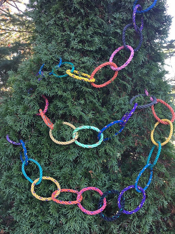 9' Reusable Festive Garland, Made in Maine with reclaimed lobster rope, outdoor holiday decor, colorful hanging Christmas card holder