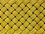 Yellow Mat - Step Sized, Upcycled lobster rope doormat, Maine made, Nautical outdoor mat, Yellow rope doormat, Outdoor decor by Wharfwarp