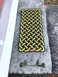 Honey Bee Mat - Step Sized, Nautical rope welcome mat, Black and Yellow doormat, Upcycled lobster rope, Vibrant floor decor