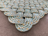 Sea Foam Rope Mat, Recycled lobster rope, Maine made, Nautical rope welcome mat, Seafoam doormat by Wharf Warp
