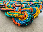 Lobster Buoy Rope Mat, Upcycled Maine lobster rope doormat, Chunky nautical doormat, Vibrant welcome mat, Reclaimed rope mat by Wharf Warp