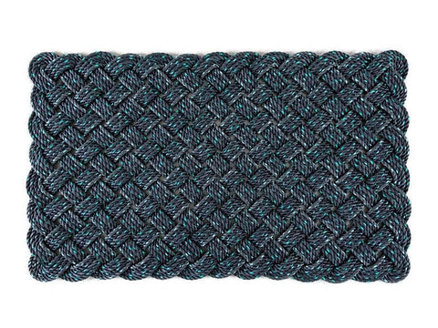 Starboard Lights Rug - Medium, Recycled lobster rope, Maine made, Nautical mat, Durable black indoor/outdoor rug, Upcycled by Wharf Warp
