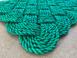 King Pine Rope Mat, Upcycled Maine lobster rope doormat, Nautical doormat, Green welcome mat, Reclaimed mat by Wharf Warp