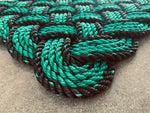 Portland Trails Rope Mat, Upcycled Maine lobster rope doormat, Nautical doormat, Green welcome mat, Reclaimed mat by Wharf Warp