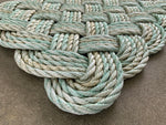 Sea Mist Rope Mat, Chunky upcycled lobster rope doormat, Maine made, Reclaimed rope welcome mat, Kitchen mat, Entry mat by WharfWarp