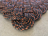 Campfire Rope Mat, Nautical welcome mat, Reclaimed rope doormat, Maine made, Chunky black entry mat, Up-cycled mat by WharfWarp