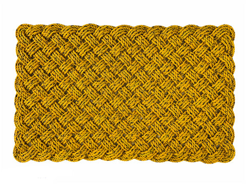 Bay Lines Mat - Medium, Maine lobster rope rug, Upcycled lobster rope, Nautical outdoor mat, Yellow and black doormat, Vibrant floor decor
