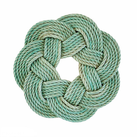 Sea Mist Wreath - Chunky, Light Aqua Rope Wreath, Upcycled lobster rope wreath, Nautical outdoor wreath, Hand woven in Maine by WharfWarp