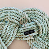 "Sea Mist Wreath, 12.5"" diameter wreath, Upcycled lobster rope, Light green nautical rope wreath, Cottage decor made in Maine by WharfWarp"