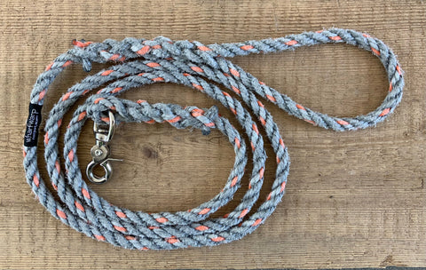 Maine dog rope leash, 6' Upcycled gray lobster rope, Maine made, nautical dog lead, dog gift, Hand spliced by WharfWarp