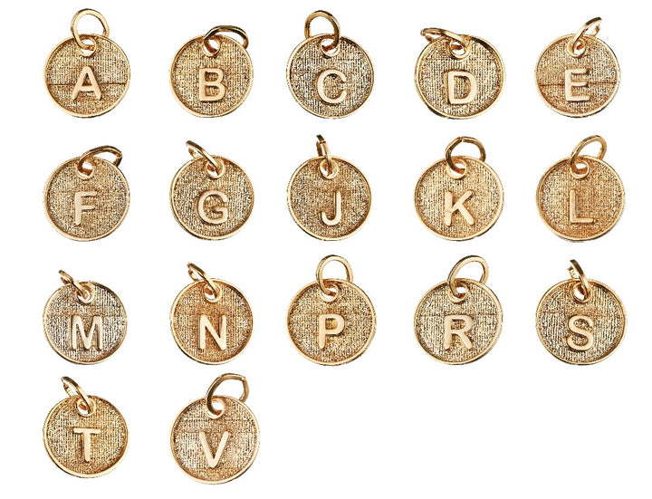 Round Disc Initial Letter Pendant