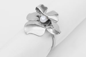 Flower Pearl Nikel Ring Napkin Holder